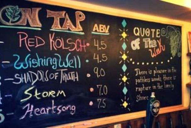 On-Tap menu at Crooked Run Brewing