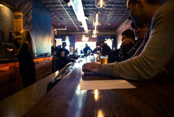 Midday diners and drinkers at Belly Love bar