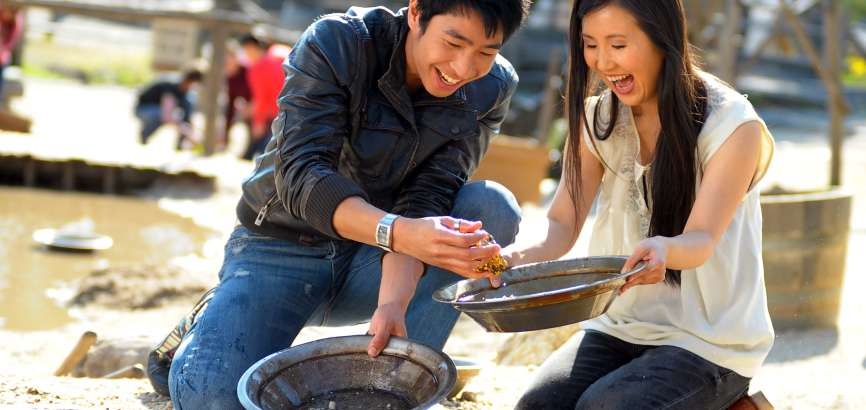 Two people panning for gold at Sovereign Hill, Ballarat, Victoria