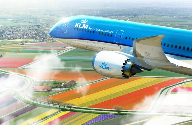 KLM airplane over tulip field
