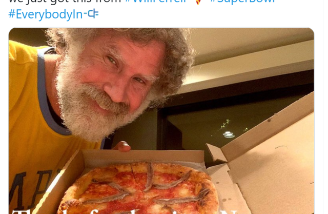 Will Ferrell's pizza tweet on Visit Norway Twitter
