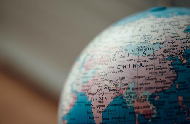 Globus som viser Kina.