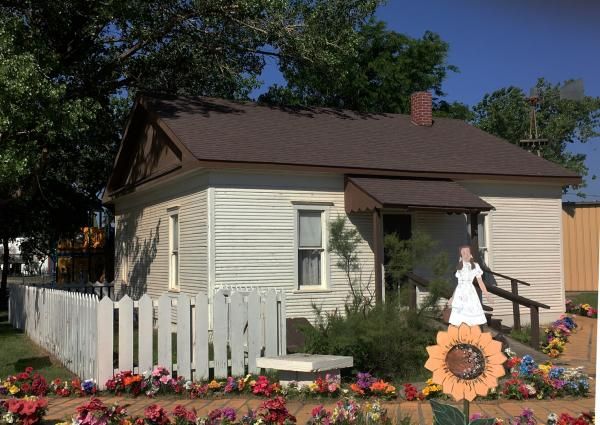 A replica of Dorothy's Home from the Wizard of Oz at the Dorothy's House and Land of Oz attraction in Liberal