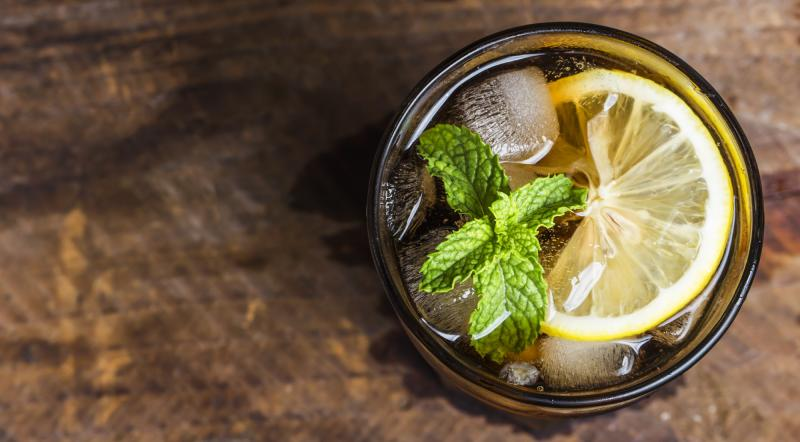 Glass of mint and soda