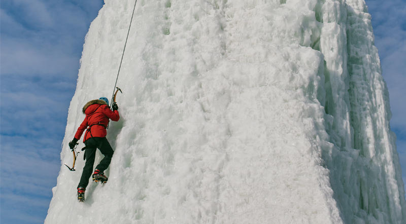 Ice climbing in Manitoba