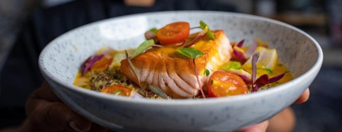 Salmon and vegetables in a bowl