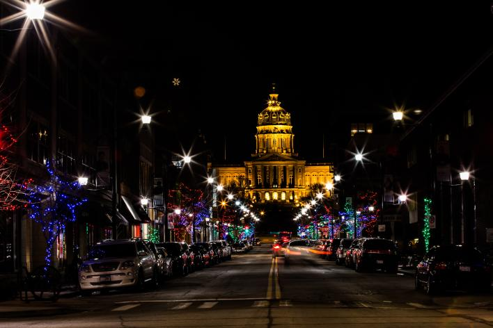 Historic East Village with Iowa State Capitol