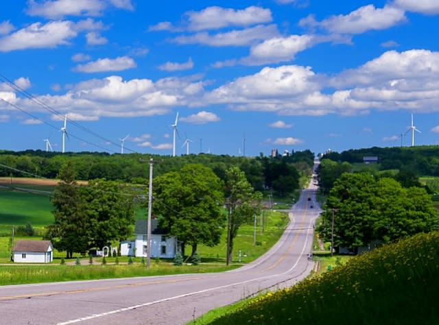 Farm and windmills along scenic Route 20A