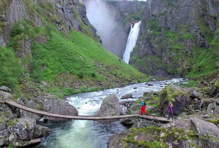 Hiking to Vøringsfossen waterfall in Norway