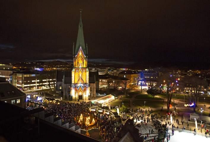 3D lysshow på Domkirka i Julebyen Kristiansand