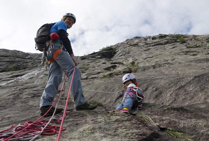 Climbing with kids in Southern Norway