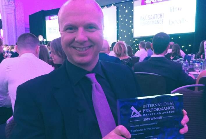 Kjetil Røed på prisutdelingen for International Performance Marketing Award 2019