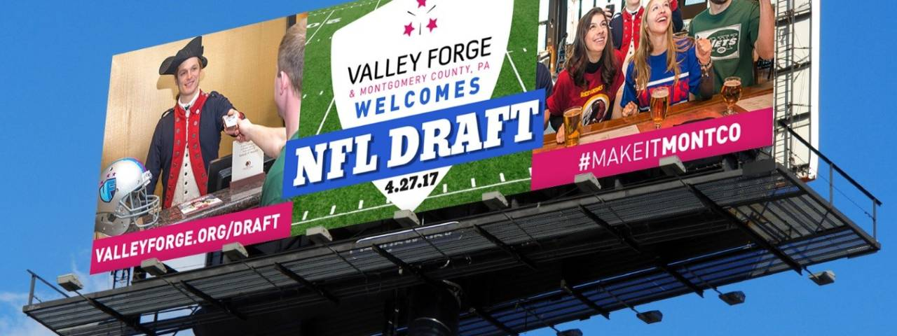 NFL Draft information from the VFTCB is currently occupying billboards on six local roadways, including the Pennsylvania Turnpike, the Walt Whitman Bridge and I-95.