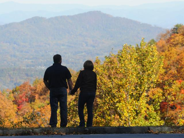 Couple on the Parkway in Fall