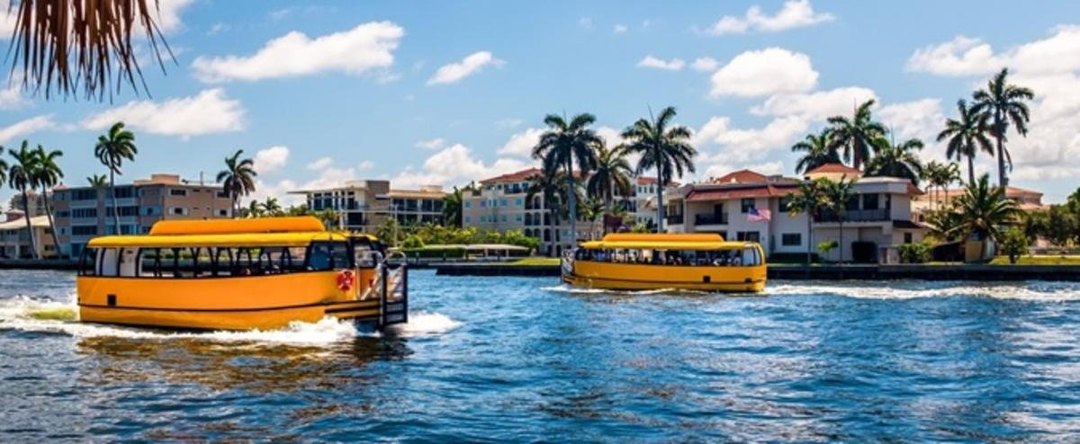 Two Water Taxis on the Intracoastal Waterways of Fort Lauderdale