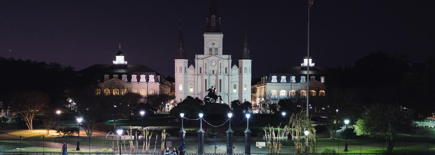 Jackson Square and St. Louis Cathedral at night