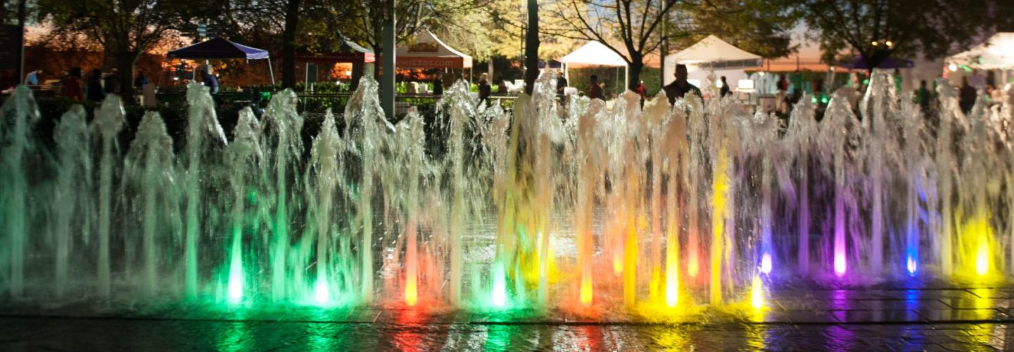 Colorful water fountain display at the Shaw Center for the Arts