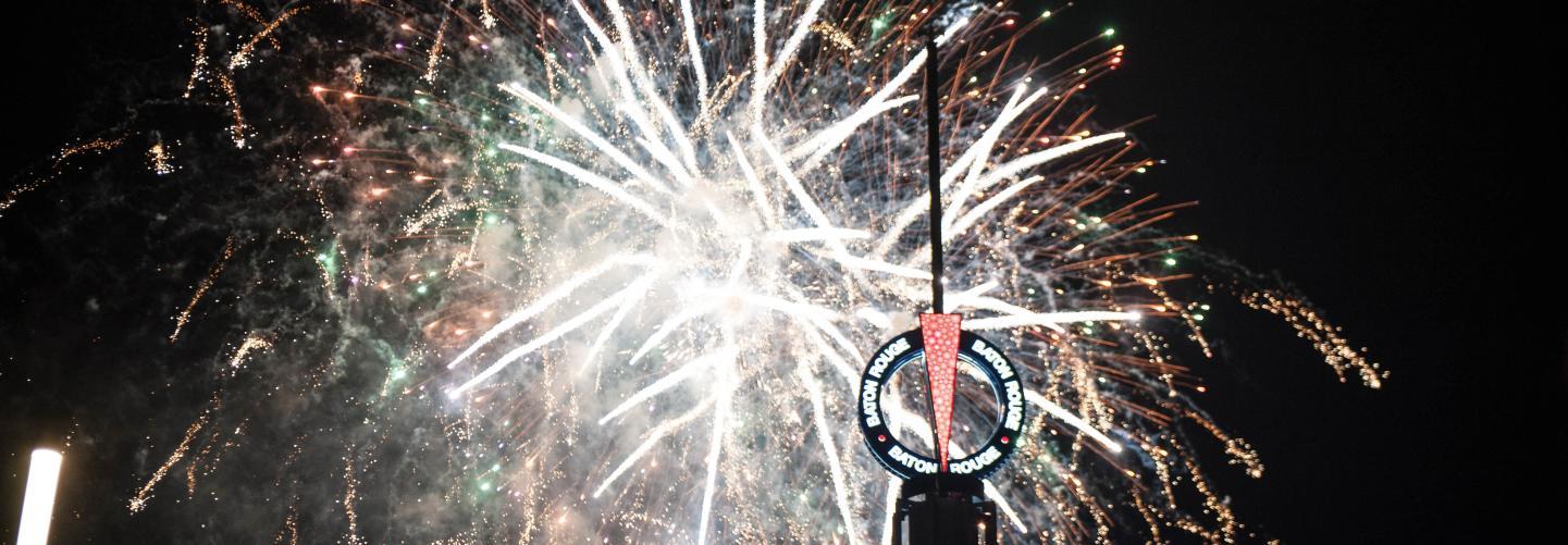 Beautiful fireworks display over Baton Rouge