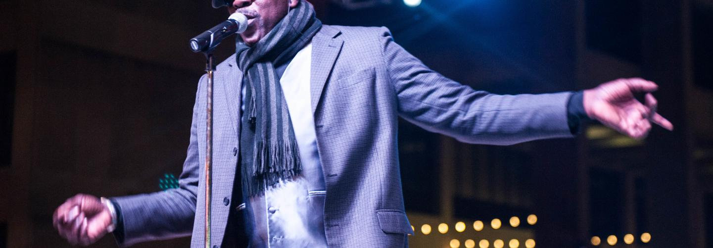 Live singer performing during Red Stick Revelry celebration
