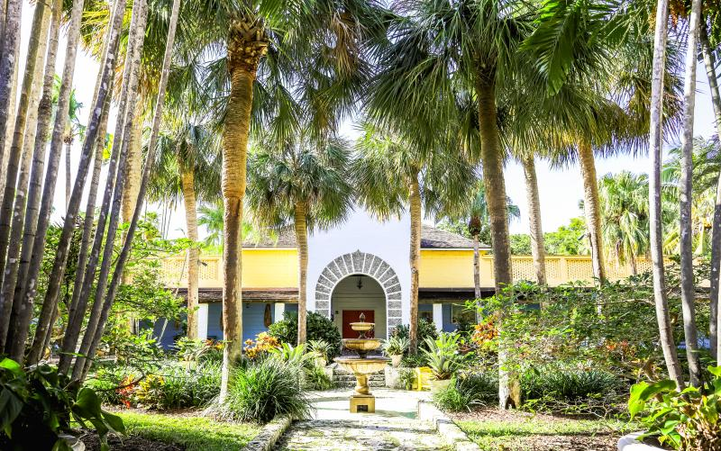 View of the entrance of the Bonnet House Museum and Gardens in Fort Lauderdale