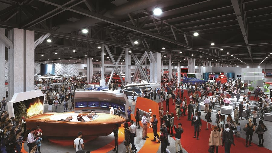 Convention Center Exhibit Hall during a boat show