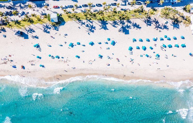 Overhead View Of Deerfield Beach In Greater Fort Lauderdale