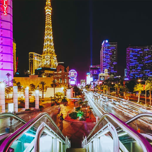 View of the Las Vegas Strip from Pedestrian Overpass