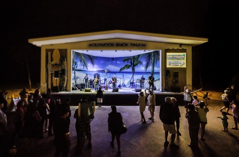 People dancing under the stars at the Hollywood Beach Theatre