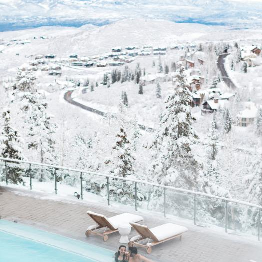 View of Park City Mountains from pool