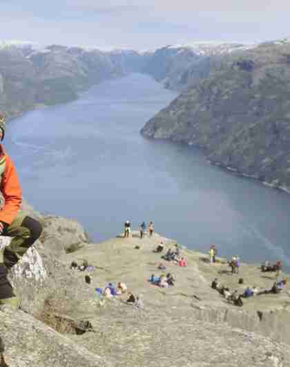 Nature guide Johannes at Preikestolen in Fjord Norway
