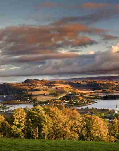 Overview of Inderøy in Innherred an autumn evening light. Trøndelag, Norway