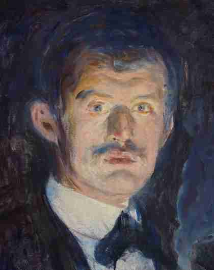 A self-portrait of Edvard Munch who's standing whilst holding a cigarette