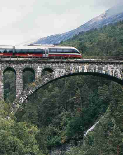 The Rauma Railway is one of the world's best train journeys. Train crossing Kylling bridge in Rauma, Fjord Norway.