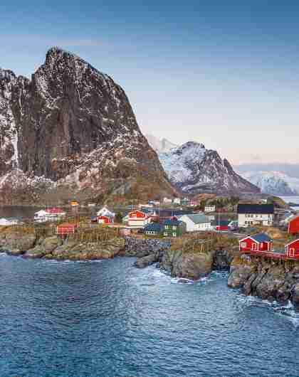 The fishing village Hamnøy in Lofoten in winter, Northern Norway