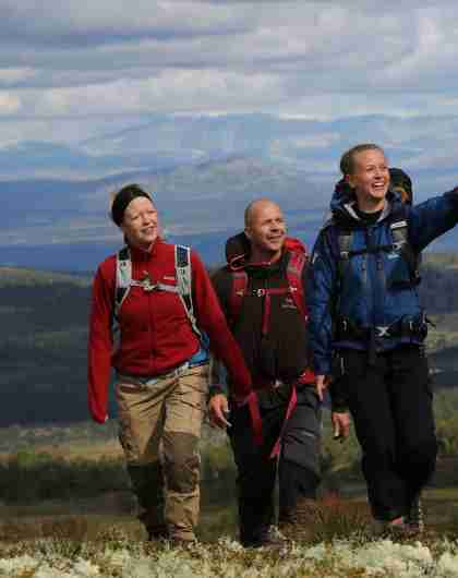Fire personer på fjelltur på Skeikampen