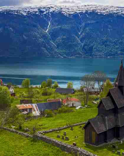 Urnes stave church in Luster in Sognefjord, Fjord Norway