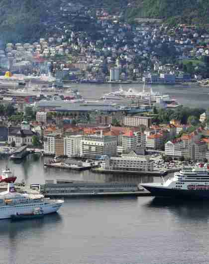 Panorama view of Bergen harbour