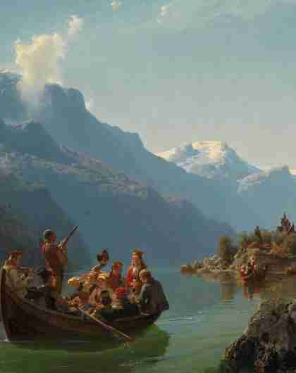 Bridal Procession RU on the Hardangerfjord by Hans Gude and Adolph Tidemand