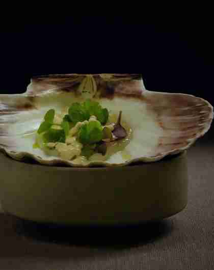 A small dish of food in a seashell at the Norwegian Michelin restaurant Fagn in Trondheim