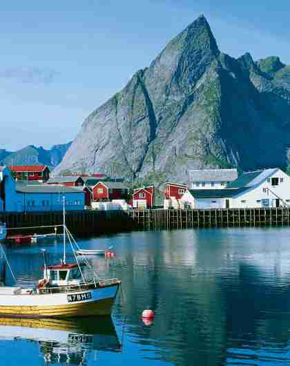 Boats in the fjord outside of Hamnøy in Lofoten, Northern Norway