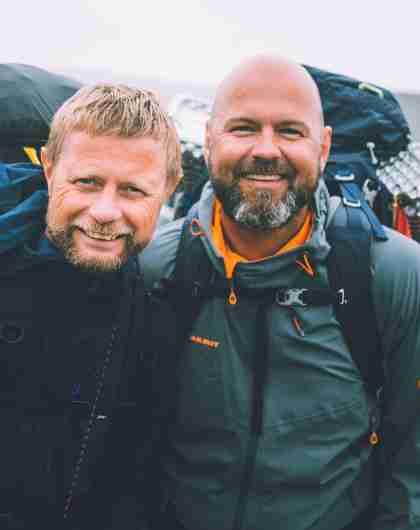 Gay couple Dag Terje Solvang and Bent Høie about to go hiking with pride in the mountains in Troms, Northern Norway