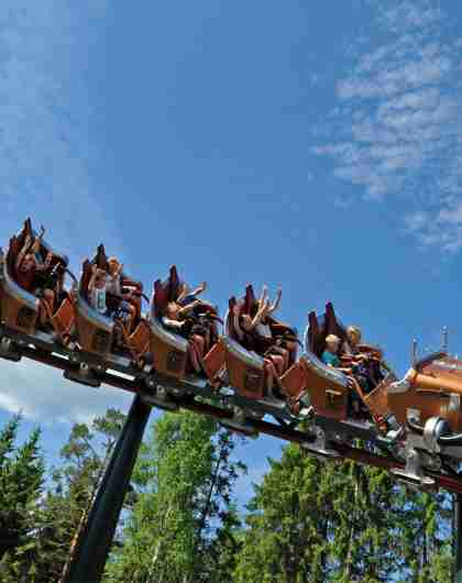 The rollercoaster Il Tempo Extra Gigante at Hunderfossen fairy tale theme park in Lillehammer, Norway