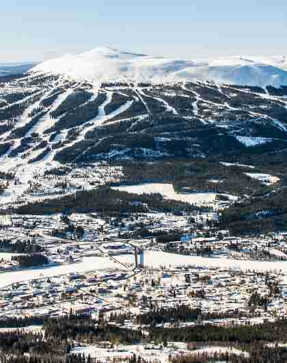 Overview of Trysil and the Trysil Ski Resort in Eastern Norway in winter