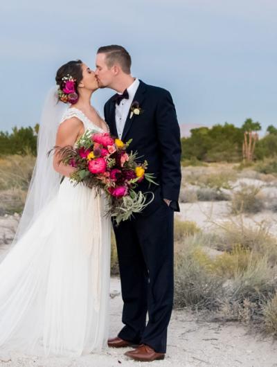 Wedding - Bride and Groom in Desert