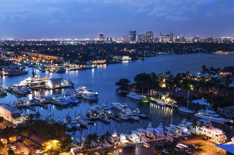 Aerial view of Fort Lauderdale waterways in the evening