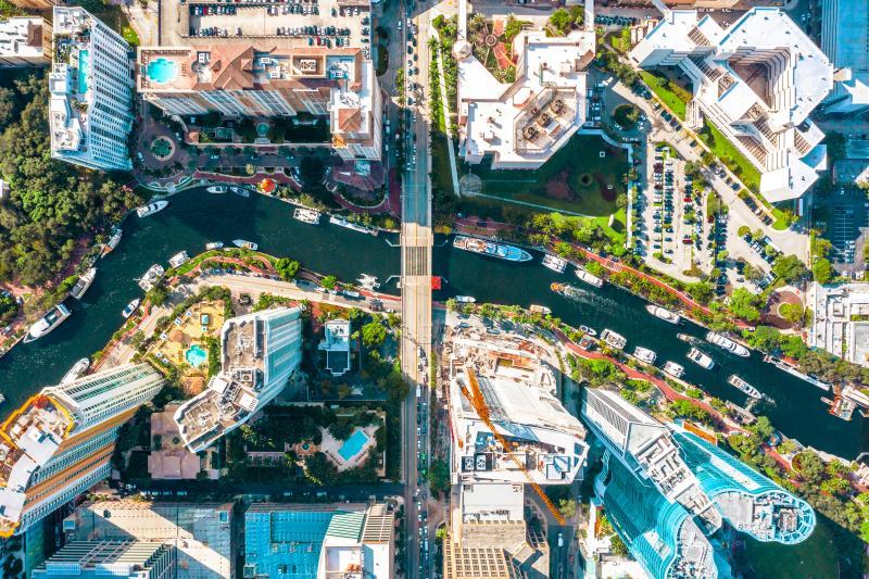Aerial view of Las Olas Boulevard in Fort Lauderdale