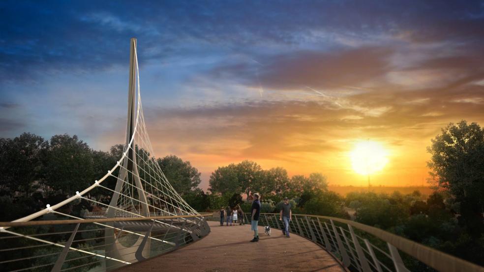 Pedestrian bridge between Historic Dublin, Ohio and Bridge Park