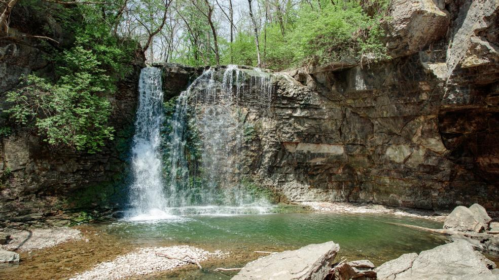View of Hayden Run Falls from the observation deck.