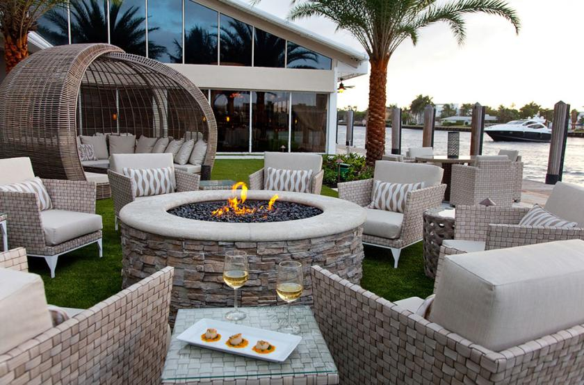Chairs Around An Outdoor Fire Pit At Shooters Waterfront In Greater Fort Lauderdale