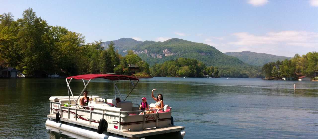 Pontoon Boat Ride on Lake Lure, NC}